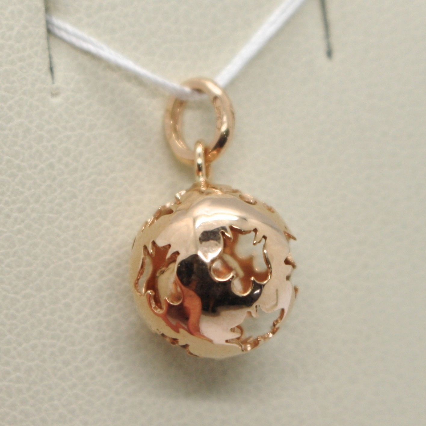 PENDANT GOLD PINK 9K, MEXICAN BOLA, WITH CORD, ROBERTO GIANNOTTI, NKT110