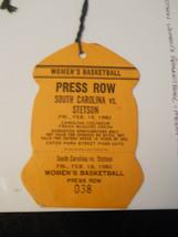 1982 So Carolina vs. Stetson Women's Basketball Media Pass Ticket Stub (... - $9.49