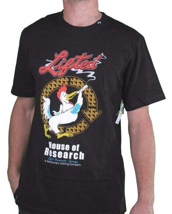 LRG Mens Black or White Lifted House of Research Joint Smoking Rooster T-Shirt