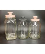 Set of 3 Shabby Chic Handmade Decorative Storage Jars Pink / Black Decor... - $14.84