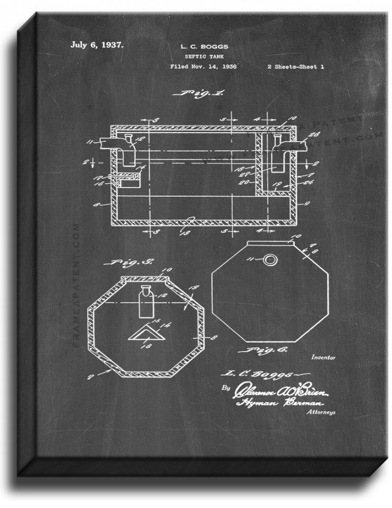 Primary image for Septic Tank Patent Print Chalkboard on Canvas