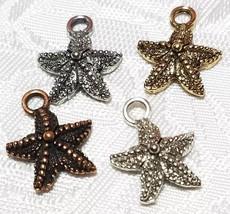 STAR FISH FINE PEWTER PENDANT CHARM - 12.5mm L x 16mm W x 4mm D image 1