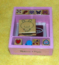 Melissa & Doug Wooden Butterfly and Heart Stamp Set w/ Pad & Extra Bunny Stamp + - $6.89