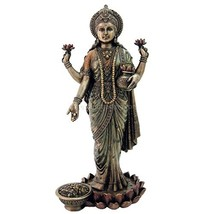 "Top Collection 10.25"" Lakshmi Statue in Cold Cast Bronze - Hindu Goddess of Weal - $94.71"