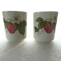 x2 Otagiri Tea Cup Strawberry Blossoms Retro Cottage Coffee Japan 6 oz each - $8.90