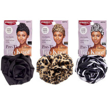 Red by Kiss Pre-Tied Top Knot Turban Ultra Stretchy Hair Wrap Zebra Leop... - $5.99
