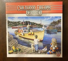MasterPieces Childhood Dreams 1000 Pc Puzzle - Lucky Day - Boat Fishing - NICE! - $12.77
