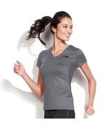 NWT $25 FILA Woman's Grey Performance Racer Tee Short Sleeve Shirt M V-Neck - $11.10