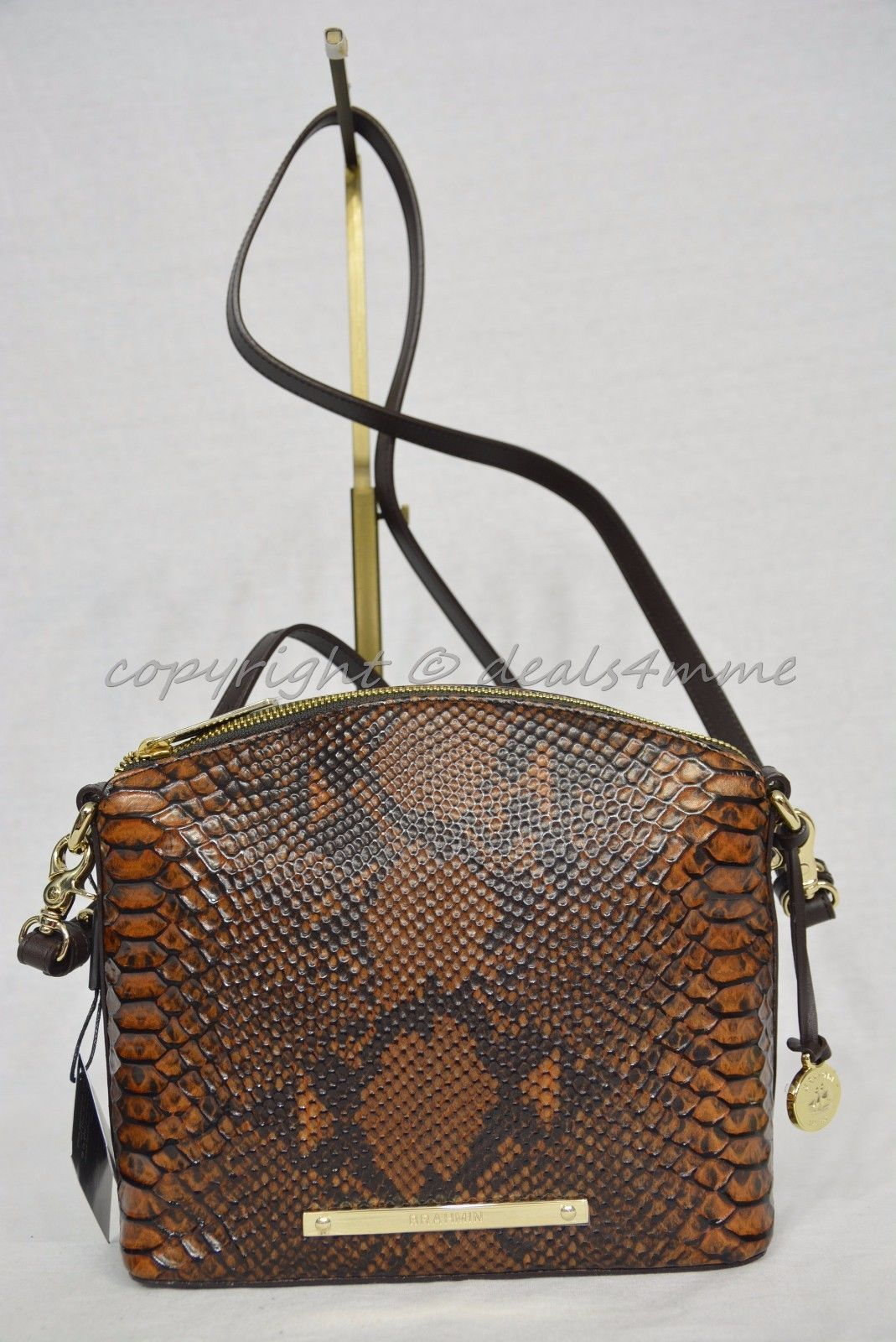 NWT Brahmin Mini Duxbury Shoulder Bag in Tortoise Seville Brown Embossed Leather image 2