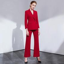 Women's Trendy Wear To Work Solid Double Breasted Pants Suit