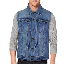 CS Men's Ripped Distressed Button Up Denim Jean Vest Removable Hood Slim Fit image 9
