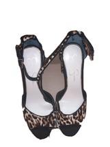 Jessica Simpson Leopard Print Platform Block Ankle Strap Heels Size 8M/38 - $39.59