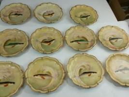 11 Vintage Limoges Fish Plate Signed Coronet France - $235.15