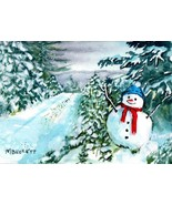ACEO Original Painting Snowman Crossing Christmas forest snow road frosty - $16.00