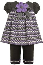 Bonnie Jean Baby Girl 3M-24M Purple Black Flamestitch Knit Dress/legging Set