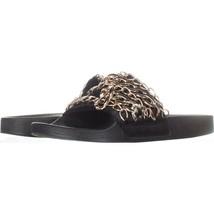 Steve Madden Chains Chain Link Slide Sandals 637, Black, 9 US - $9.58