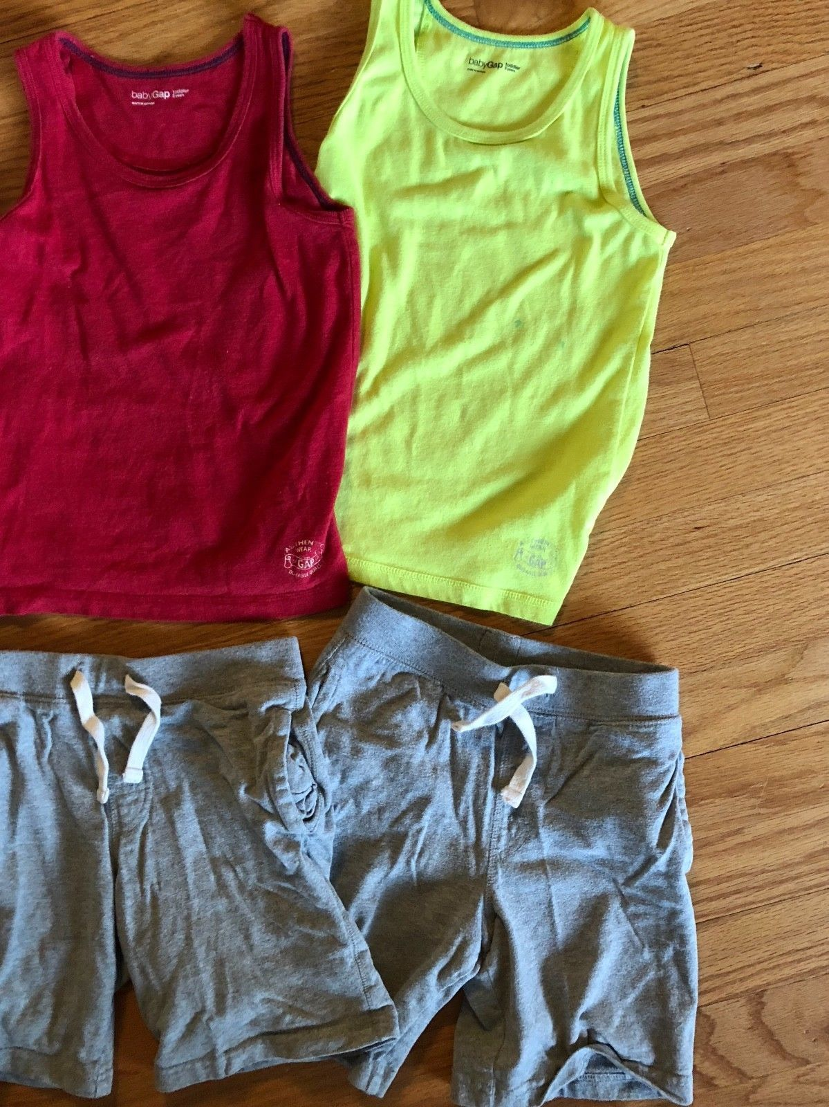 BABY GAP Tank Top + Knit Pull On Shorts Lot of 6 - Summer Outfits Blue Gray Red image 3