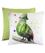 GREEN TURACO TROPICAL BIRD EVANS LICHFIELD MADE IN UK CREAM CUSHION COVE... - $272,18 MXN