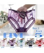 5-pack Ladies Transparent Embroidery Panties Fashion Bikini Panty Lace E... - $15.89