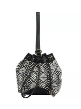 New Lucky Brand Womens Bali Hai Drawstring Tote Sling Bag Surf Black - $59.35