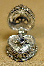 NICE Sterling Silver Open Charm Heart Photo Locket Ring Wedding Engagement Jewel - $37.83
