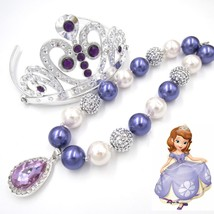 Kids Girl Love Sofia The First Amulet Chunky Necklace Girls Infants Tiar... - $22.53
