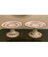 Crown Staffordshire Scalloped 2 Floral Pedestal Delicatessen Small Cake ... - $79.00