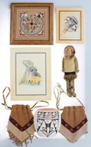 Native American Lot Navajo Sandpainting Isleta Pueblo Pottery Doll Tiles... - $94.99