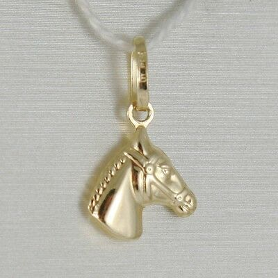 18K YELLOW GOLD HORSE HEAD CHARM PENDANT SMOOTH LUMINOUS BRIGHT MADE IN ITALY