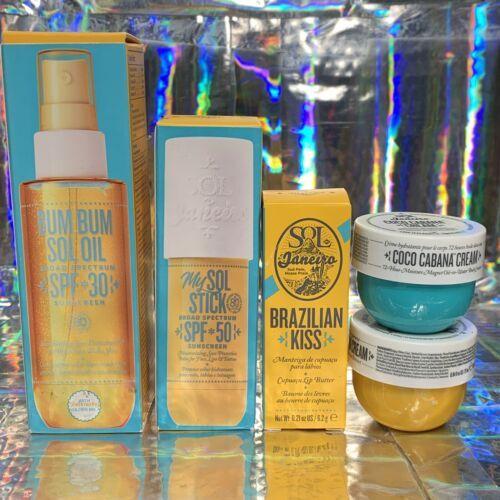 5 Piece Sol De Janeiro Lot Sol Stick Bum Bum SPF Oil Kiss Bum Bum Coco Cream