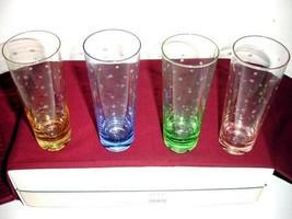 Kate Spade Lenox LARABEE DOT POP Mojito Glasses SET/4 Crystal 4 Colors New  - $179.90