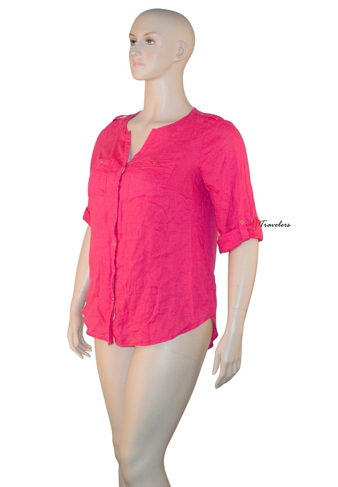 JM Collection Women's Top Blouse Plus 14W Radiant Pink 100% Linen 3/4 Sleeve $56