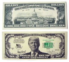 100 bills OF FAKE TRICK DONALD TRUMP BILLION DOLLAR BILL play money doll... - $18.95