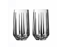 Vera Wang Wedgwood Peplum Set Of 2 Highball Glasses Crystal Made In Germany New - $59.75