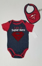 "New Infant ""I Am A Super Hero"" Superman Bodysuit With Bib Sz 6-9mths - $11.40"