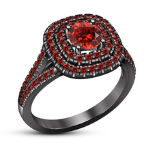 1.20Ct Red Garnet 14K Black Gold Over 925 Silver Womens Engagement Weddi... - £53.00 GBP