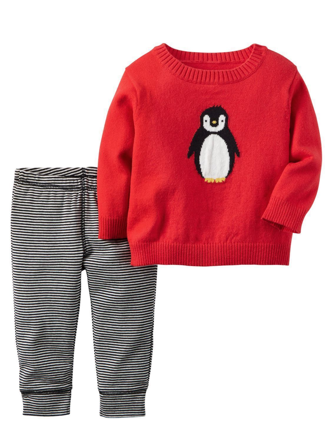 Carters Infant Boys 2-Piece Red Penguin Sweater & Striped Pant Set