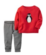Carters Infant Boys 2-Piece Red Penguin Sweater & Striped Pant Set - $24.24
