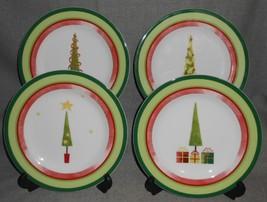 2006 Set (4) Studio Nova Joyeux Noel Pattern Salad Plates - $29.69