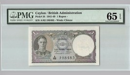 CEYLON 1 Rupee, 1948 P-34, PMG 65 EPQ Gem UNC, KGVI - $599.99