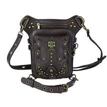 steel master Punk Brown Waist Bags Rock Rivet Fanny Packs Victorian PU Leather S