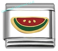 Gold Plated Watermelon Fruit 9mm Italian Charm Stainless Steel Modular Link - $7.91