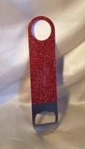 BLING STAINLESS STEEL & RED GLITTER MATERIAL BOTTLE OPENER  - $8.25