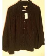 NWT CJ BANKS ~ Women's 2X 20/22W Black Polka Dot Cloth Sweater Coat Jacket - $35.62