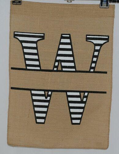 Kate Winston Brand Brown Burlap Monogram Black White W Garden Flag