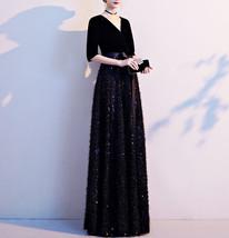 Women Half Sleeve Velvet Maxi Dress High Waist Formal Dress, Black, Plus Size image 3