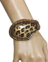 "1.75"" W Leopard Cheetah Brown Animal Print Rhinestones Bangle Hinge Bracelet  - $21.85"