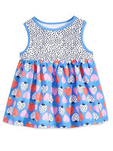First Impressions Baby Girls Blue Multi-Color Strawberry Print Tunic Dress - $15.00