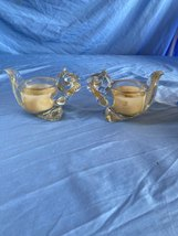 Lot Of 2 Vintage Avon Molded Clear Glass Squirrel Votive Tea Light Candl... - $15.99