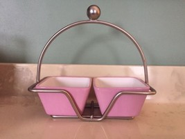 Pampered Chef Square Dip Bowls With Caddy Help Whip Cancer Pink Ribbon HBV7 - $19.99